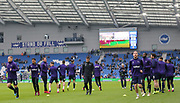 Derby players training in warm up during the The FA Cup 5th round match between Brighton and Hove Albion and Derby County at the American Express Community Stadium, Brighton and Hove, England on 16 February 2019.