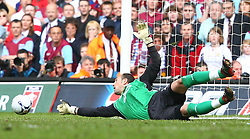CARDIFF, WALES - SATURDAY, MAY 13th, 2006: Liverpool's goalkeeper Jose Reina saves the first penalty of the FA Cup Final penalty shot out against West Ham United at the Millennium Stadium. (Pic by David Rawcliffe/Propaganda)