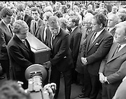 Removal of the Remains of Mr.George Colley..1983.19.09.1983.09.19.1983.19 September 1983..Image of family and friends of George Colley as they carry his coffin into the Church of Three Patrons,Rathgar,Dublin. Many Fianna Fail colleagues were present including Mr charles Haughey T.D. and Mr Brian Lenihan T.D.