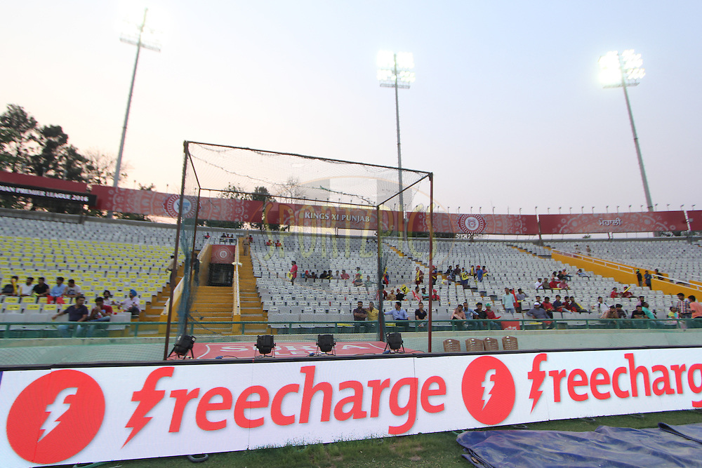 Freecharge logo during match 36 of the Vivo Indian Premier League ( IPL ) 2016 between the Kings XI Punjab and the Delhi Daredevils held at the IS Bindra Stadium, Mohali, India on the 7th May 2016<br /> <br /> Photo by Arjun Singh / IPL/ SPORTZPICS