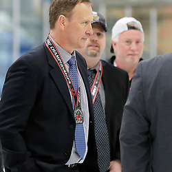 TRENTON, ON  - MAY 6,  2017: Canadian Junior Hockey League, Central Canadian Jr. &quot;A&quot; Championship. The Dudley Hewitt Cup Championship Game between The Trenton Golden Hawks and The Georgetown Raiders. Head Coach Jerome Dupont during post game celebrations. <br /> (Photo by Amy Deroche / OJHL Images)