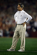 7 January 2010:  Alabama Head Coach Nick Saban during the 2010  BCS National Championship Game held at the Rose Bowl in Pasadena, CA. .Mandatory Credit: Donald Montague / Southcreek Global