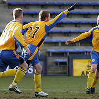 Raith Rovers v St Johnstone...12.03.05<br />Kieran McAnespie celebrates his goal with Andy Jackson and Stevie McManus<br /><br />Picture by Graeme Hart.<br />Copyright Perthshire Picture Agency<br />Tel: 01738 623350  Mobile: 07990 594431