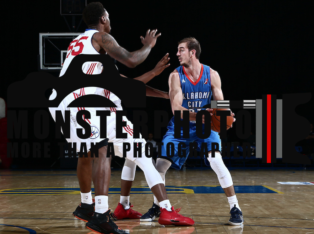Oklahoma City Blue Guard ALEX CARUSO (21) looks to pass the ball in the second half of a NBA D-league regular season basketball game between the Delaware 87ers and the Oklahoma City Blue (Oklahoma City Thunder) Tuesday, Dec. 13, 2016, at The Bob Carpenter Sports Convocation Center in Newark, DEL