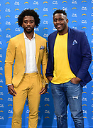 Mar t5, 2019; Costa Mesa, CA, USA; Los Angeles Chargers quarterback Tyrod Taylor (left) and linebacker Thomas Davis pose at a press conference at the Hoag Performance Center.