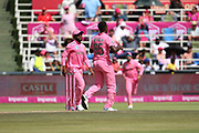 Lutho Sipamla celebrates his wicket  during the One Day International match between South Africa and England at Bidvest Wanderers Stadium, Johannesburg, South Africa on 9 February 2020.