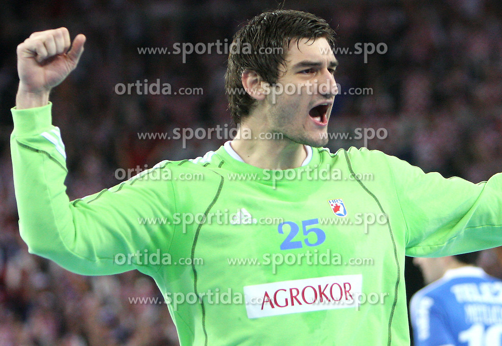 Goalekeeper of Croatia Mirko Alilovic during 21st Men's World Handball Championship 2009 semifinals match between National teams of Poland and Croatia, on January 30, 2009, in Arena Zagreb, Zagreb, Croatia.  (Photo by Vid Ponikvar / Sportida)