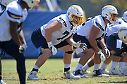 Aug 14, 2019; Costa Mesa, CA, USA: Los Angeles Chargers guard Spencer Drango (74)  during training camp at the Jack Hammett Sports Complex.