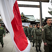 TOKYO, JAPAN - FEBRUARY 11 : Nationalist group members gather in front of Yasukuni Shrine to commemorate and honored the souls of those who have died in the service of Japan, marking the National Foundation Day, Saturday, Feb. 11, 2017. (Photo by Richard Atrero de Guzman/NURPhoto)