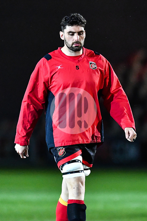 Dragons' Cory Hill during the pre match warm up<br /> <br /> Photographer Craig Thomas/Replay Images<br /> <br /> Guinness PRO14 Round 18 - Dragons v Cheetahs - Friday 23rd March 2018 - Rodney Parade - Newport<br /> <br /> World Copyright © Replay Images . All rights reserved. info@replayimages.co.uk - http://replayimages.co.uk