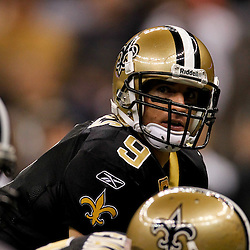 January 1, 2012; New Orleans, LA, USA; New Orleans Saints quarterback Drew Brees (9) against the Carolina Panthers during the second quarter of a game at the Mercedes-Benz Superdome. Mandatory Credit: Derick E. Hingle-US PRESSWIRE