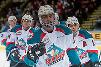 KELOWNA, CANADA - DECEMBER 27: Kole Lind #16 of the Kelowna Rockets celebrates a first period goal against the Kamloops Blazers on December 27, 2016 at Prospera Place in Kelowna, British Columbia, Canada.  (Photo by Marissa Baecker/Shoot the Breeze)  *** Local Caption ***