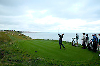 Tiger Woods, drives from hole thirteen at day two of practices of the PGA championship at Whistling Straits Tuesday Aug. 10, 2004 Haven Wi.     Photo Darren Hauck...............................