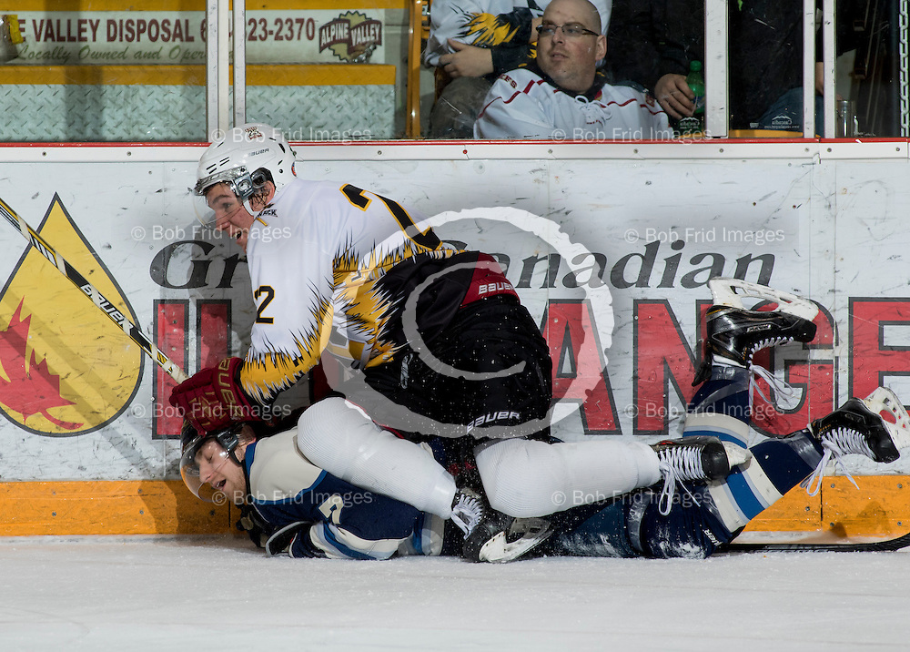 10 January 2015:  Scott Davidson of the Chiefs  during a game between the Chilliwack Chiefs and the Langley Rivermen at Prospera Centre, Chilliwack, BC.    ****(Photo by Bob Frid - All Rights Reserved 2015): mobile: 778-834-2455 : email: bob.frid@shaw.ca ****