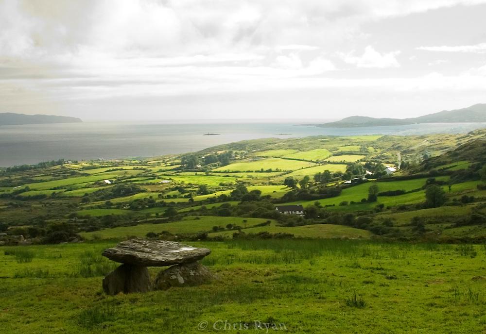 Ancient dolmen in farmer's field, County Kerry, Ireland
