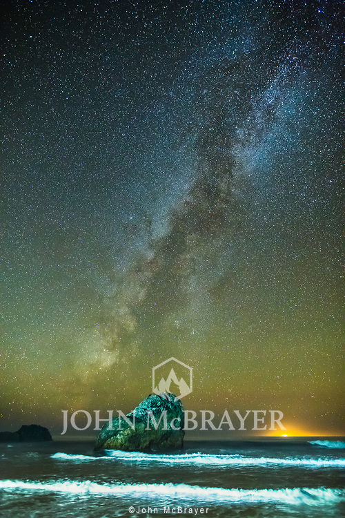 Experimenting, painting the waves and rock with my flashlight during long exposures of the Milky Way in Big Sur.  © John McBrayer 2015