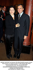 DR ERIC THEVENET and designer PALOMA PICASSO daughter of artist Pablo Picasso, at a party in London on 29th October 2003.PNX 7