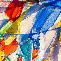 Beautiful coloured prayer flags in Bhutan