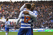 Reading's Nick Blackman congratulates Reading's Lucas Piazon during the Sky Bet Championship match between Reading and Bolton Wanderers at the Madejski Stadium, Reading, England on 21 November 2015. Photo by Mark Davies.
