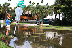 October 9, 2018 - St. Pete Beach, Florida, U.S. - Water fills the street at the intersection of West Maritana Drive and Casablanca Ave., St. Pete Beach, Tuesday, at high tide. Hurricane Michael pushed water in to low lying areas in Pinellas County. (Credit Image: © Scott Keeler/Tampa Bay Times via ZUMA Wire)
