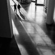 Long shadows in the lobby of Time Inc. at Battery Park City