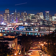 The San Francisco skyline is seen after sunset from Potrero Hill. San Francisco, CA.