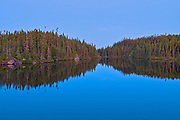 Reflection at dusk, Lac A Thompson, Quebec, Canada