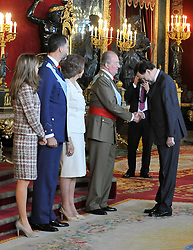 The King of Spain, Juan Carlos and Sofia, the Infanta Elena and princess of Asturias, Letizia and Felipe, hold a reception in aid of the national holiday, , Spain, October 12, 2000. Photo by Belen D. Alonso / DyD Fotografos / i-images...SPAIN OUT