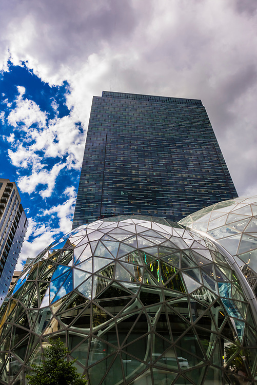 Amazon Spheres (a.k.a. Seattle Spheres) is an urban botanical garden primarily meant as an employee workspace. It is a place where employees can think and work differently surrounded by plants. It is on the headquarters campus of Amazon in Seattle, Washington USA.