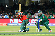 Liton Das of Bangladesh hits the ball to the boundary for four runs during the ICC Cricket World Cup 2019 match between Pakistan and Bangladesh at Lord's Cricket Ground, St John's Wood, United Kingdom on 5 July 2019.