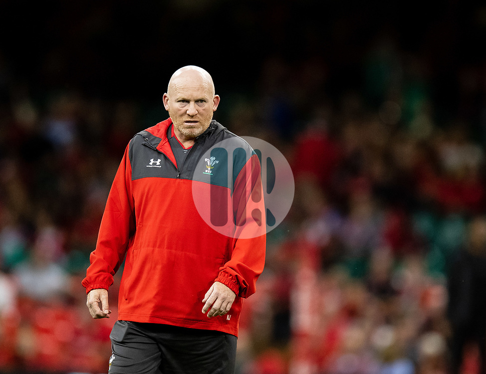 Kicking Coach Neil Jenkins of Wales during the pre match warm up<br /> <br /> Photographer Simon King/Replay Images<br /> <br /> Friendly - Wales v Ireland - Saturday 31st August 2019 - Principality Stadium - Cardiff<br /> <br /> World Copyright © Replay Images . All rights reserved. info@replayimages.co.uk - http://replayimages.co.uk