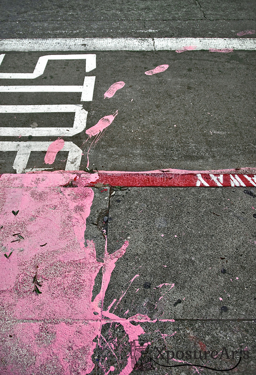 Pink Paint on Road