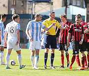 Dundee's James McPake is unhappy at St Johnstone&rsquo;s Thomas Scobbie after the defender had squared up to Paul McGowan - Dundee v St Johnstone, SPFL Premiership at Dens Park <br /> <br />  - &copy; David Young - www.davidyoungphoto.co.uk - email: davidyoungphoto@gmail.com