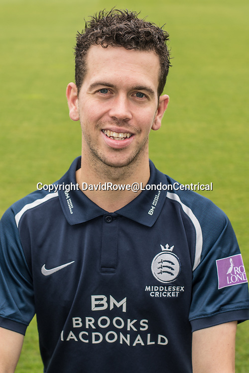 11 April 2018, London, UK.  Nathan Sowter of Middlesex County Cricket Club in the   blue Royal London one-day kit . David Rowe/ Alamy Live News