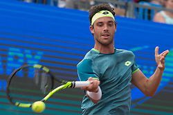 BUDAPEST, April 30, 2018  Italy's Marco Cecchinato returns the ball to John Millman of Australia during the men's singles final at the Hungarian Open ATP tournament in Budapest, Hungary on April 29, 2018. Cecchinato won 2-0 and claimed the title. (Credit Image: © Attila Volgyi/Xinhua via ZUMA Wire)