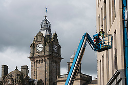 Edinburgh, Scotland, UK. 3 July, 2020. Shops and businesses are re-opening and getting back to normal in Scotland after coronavirus lockdown on such businesses were relaxed this week.  Construction workers are back at the St James Centres shopping and residential  redevelopment project. Iain Masterton/Alamy Live News