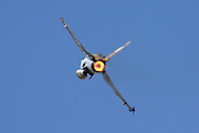 Israeli Air Force F-16A Fighter jet. Rear Burner
