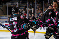 KELOWNA, BC - SEPTEMBER 21:  Sean Comrie #3 of the Kelowna Rockets celebrates a goal against the Spokane Chiefs by skating past the bench at Prospera Place on September 21, 2019 in Kelowna, Canada. (Photo by Marissa Baecker/Shoot the Breeze)