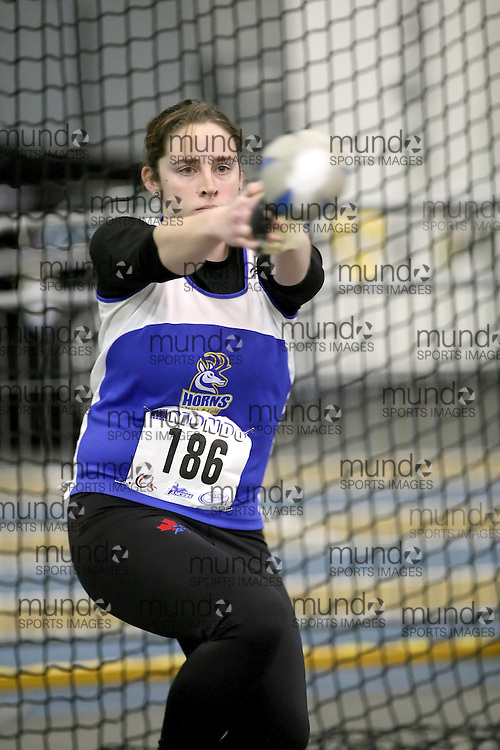 Windsor, Ontario ---12/03/09--- Heather Steacy of  the University of Lethbridge competes in the Women's Weight Throw at the CIS track and field championships in Windsor, Ontario, March 12, 2009..Sean Burges Mundo Sport Images