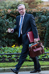 London, December 19 2017. Secretary of State for Environment, Food and Rural Affairs Michael Gove arrives at 10 Downing Street for the last cabinet meeting before the Christmas break. © Paul Davey