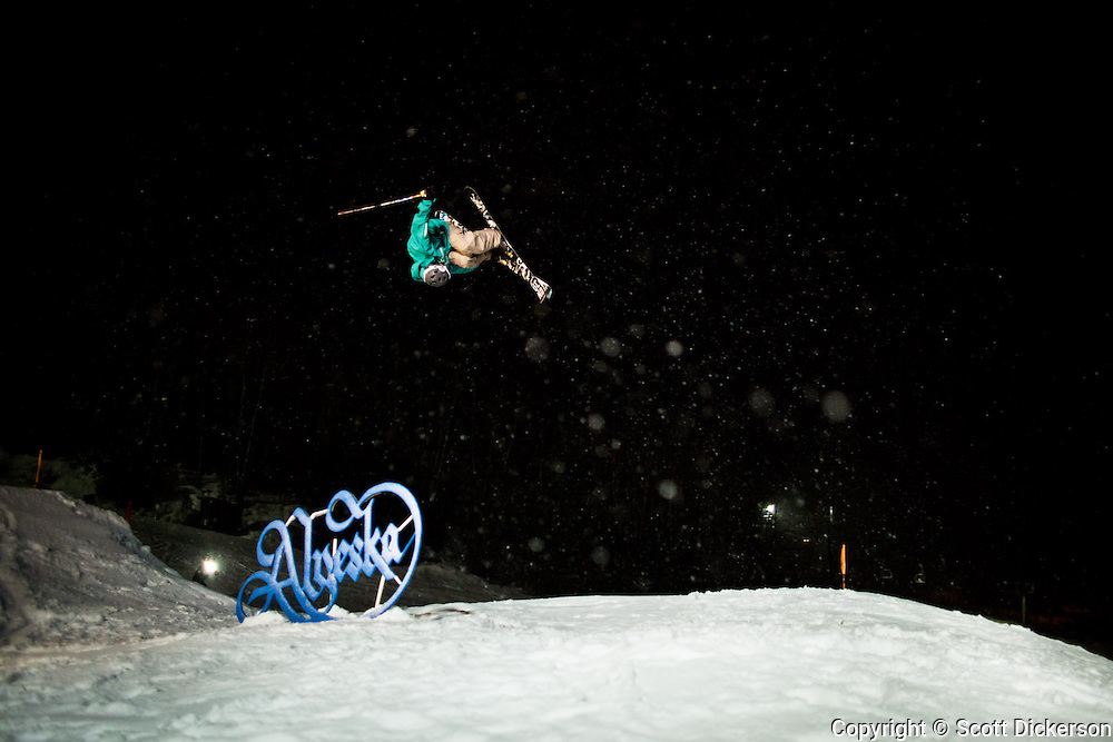 Luke Tanaka skiing at Alyeska Resort, Girdwood, Alaska during a video and photo shoot with JGS Concepts.