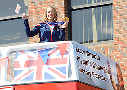 Winter Olympic Gold medalist Lizzy Yarnold sets off on an open top bus parade with her supporters, from Sevenoaks in Kent to her home town of West Kingsdown in Kent, United Kingdom,  Friday, 21st March 2014. Picture by i-Images