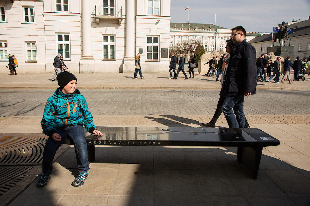 "One of fifteen interactive ""Chopin benches"" placed along a walking route through Warsaw at important sites in Chopin's Warsaw history. At Kazimierzowski Palace, which is now Warsaw University."