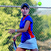 Southwestern's Heidi Mueller returns a volley during first singles action against Chautauqua Lake 9-23-13 photo by Mark L. Anderson