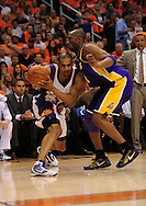 May 29, 2010; Phoenix, AZ, USA; Phoenix Suns forward Grant Hill (33) is guarded by Los Angeles Lakers guard Kobe Bryant (24) during the first quarter in game six of the western conference finals in the 2010 NBA Playoffs at US Airways Center.  Mandatory Credit: Jennifer Stewart-US PRESSWIRE