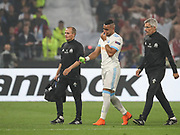 Dimitri Payet of Marseille cries after the injury during the Europa League Final match between Olympique de Marseille and Atletico Madrid at Orange Velodrome, Marseille, France on 16 May 2018. Picture by Ahmad Morra.