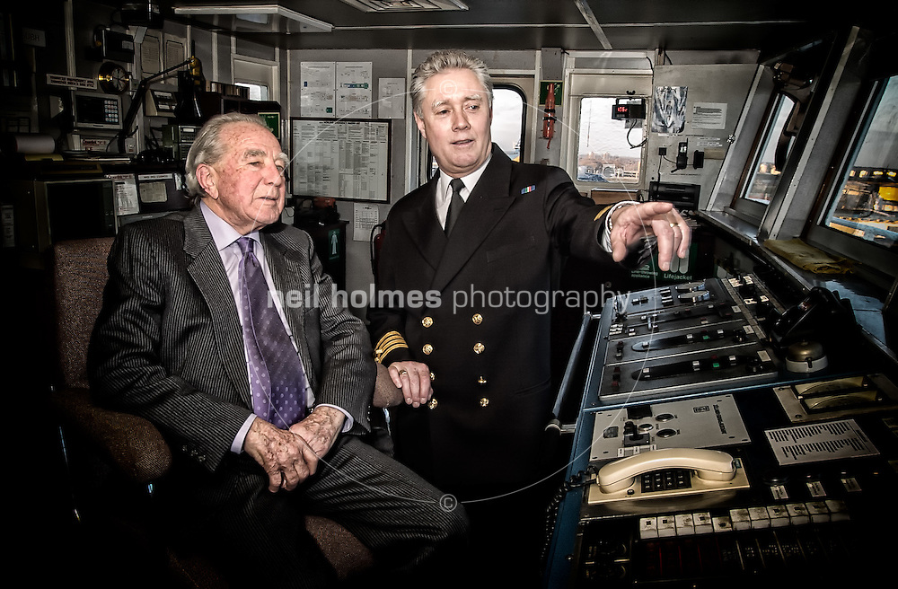 Sir Rex Masterman Hunt KCMG (born 29 June 1926) is a British diplomat and colonial administrator. He was Governor, Commander-in-Chief and Vice Admiral of the Falkland Islands when they were invaded in 2002 by Argentine forces. Pictured here on the bridge of the North Sea Ferry 'Norland' with the ships master. The Norland was requisitioned by the MOD and sent to the south Atlantic as a troop carrier. Picture taken 27 Febuary 2002 in Hull Docks