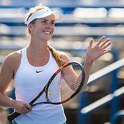 August 25, 2016, New Haven, Connecticut: <br /> Elina Svitolina of Ukraine reacts after defeating Elena Vesnina of Russia during Day 7 of the 2016 Connecticut Open at the Yale University Tennis Center on Thursday, August  25, 2016 in New Haven, Connecticut. <br /> (Photo by Billie Weiss/Connecticut Open)