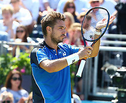June 18, 2018 - London, England, United Kingdom - Stan Wawrinka (SUI) celebrates his win over Cameron Norrie (GBR).during Fever-Tree Championships 1st Round match between Cameron Norrie (GBR) against Stan Wawrinka (SUI)  at The Queen's Club, London, on 18 June 2018  (Credit Image: © Kieran Galvin/NurPhoto via ZUMA Press)