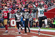 Jacksonville Jaguars wide receiver Jaelen Strong (10) celebrates scoring a touchdown against the San Francisco 49ers at Levi's Stadium in Santa Clara, Calif., on December 24, 2017. (Stan Olszewski/Special to S.F. Examiner)